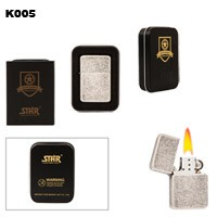 Flecked Silver Finish Brass Oil Lighter K005