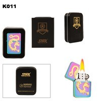 Prism Finish with Gold Dragon Brass Oil Lighter K011