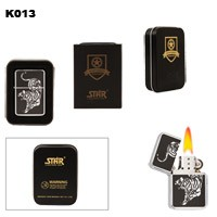 Tiger in Chrome 13 Brass Oil Lighter K013