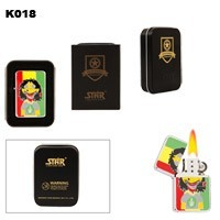 Cartoon Guy & Pot Leaf Brass Oil Lighter K018