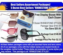 5 Dozen Rhinestone Sunglasses Sample Pack  SPA44