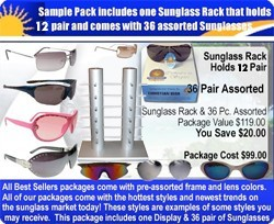 1 Sunglass Rack 7039 & 36 pair Sunglasses Sample Pack  SPA3